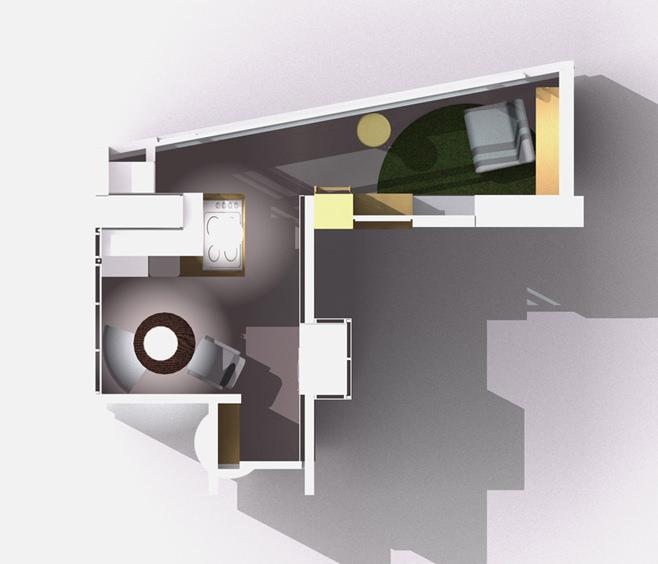 План-схема организации пространства кухни в формате 3d