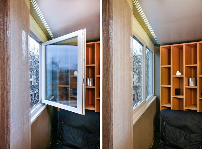 Фотоколлаж: большое окно без занавесей в интерьере кухни