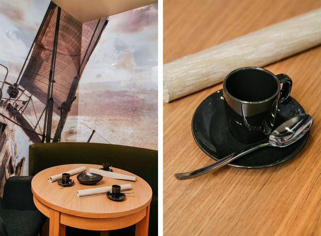 Фотоколлаж: круглый деревянный обеденный стол в интерьере кухни