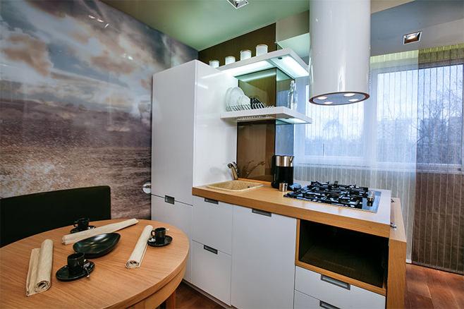 Дизайн интерьера кухни, совмещенной с лоджией