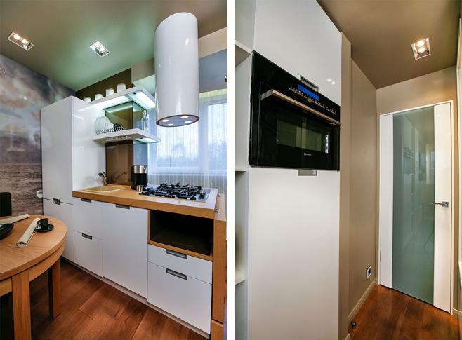 Фотоколлаж: кухонный гарнитур в белой гамме с деревянной столешницей