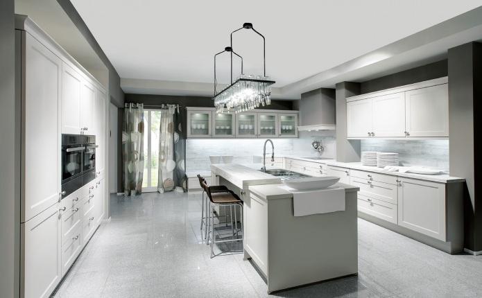 Оригинальный дизайн интерьера кухни с островом