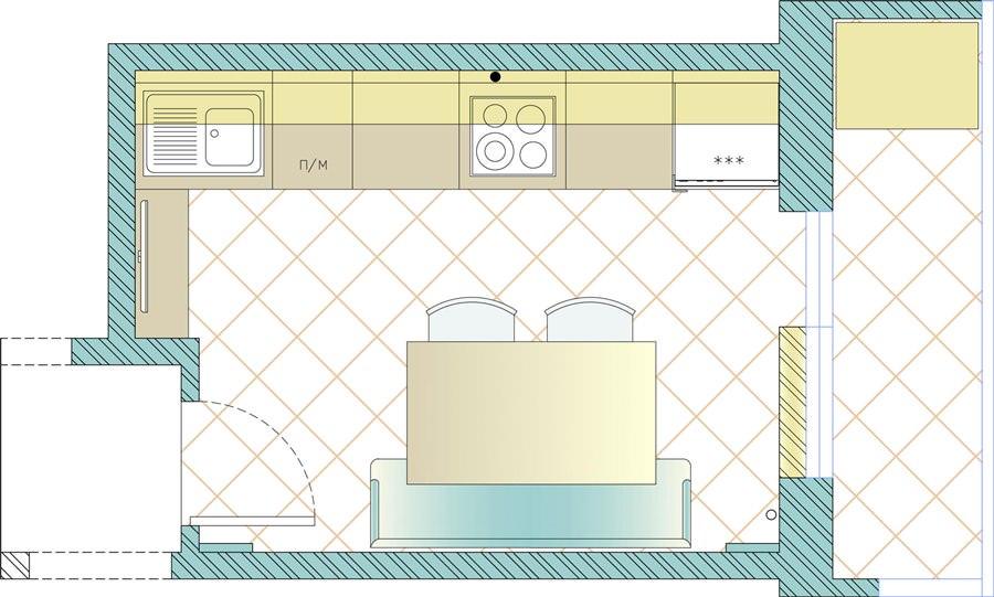 Цветной план-схема кухни
