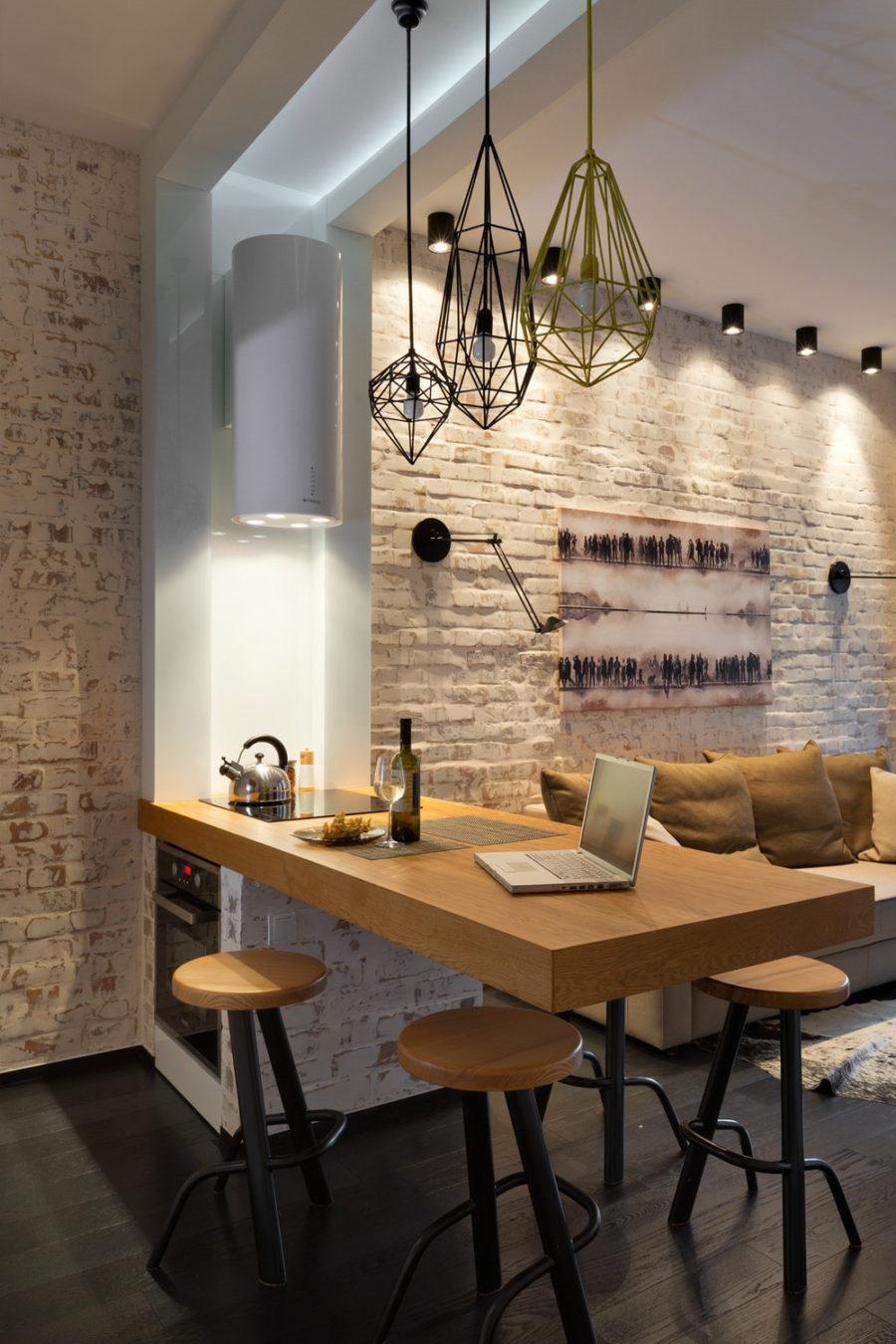 Дизайн кухни с полуостровом в стиле лофт в вашем доме