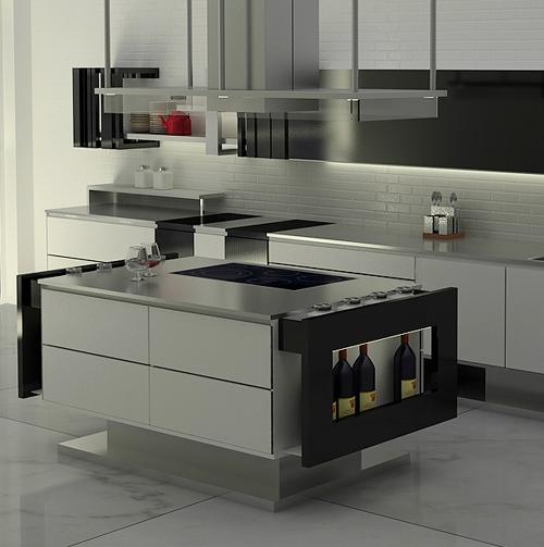 Дизайн кухни в стиле минимализм: полка для бутылок вина