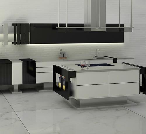 Дизайн кухни в стиле минимализм: чёрно-белый интерьер