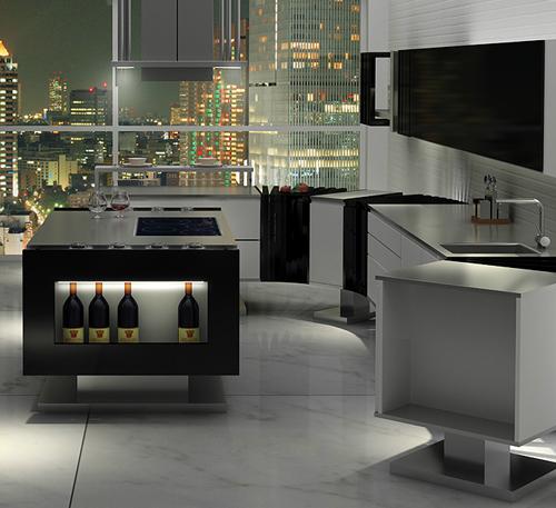 Дизайн кухни в стиле минимализм: панорамное окно