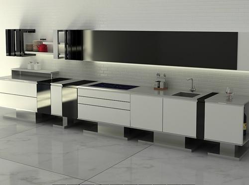 Дизайн кухни в стиле минимализм: рабочая поверхность с раковиной