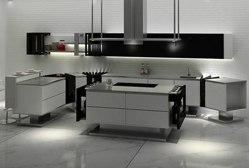 Дизайн кухни в стиле минимализм: пол из натурального камня