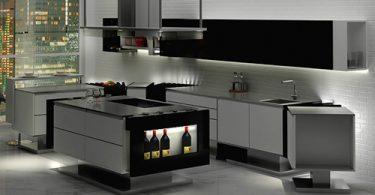 Дизайн кухни в чёрно-белом цвете в стиле минимализм