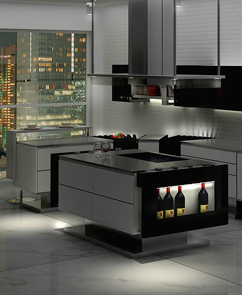 Дизайн кухни в стиле минимализм: кухонный остров с удобными полками