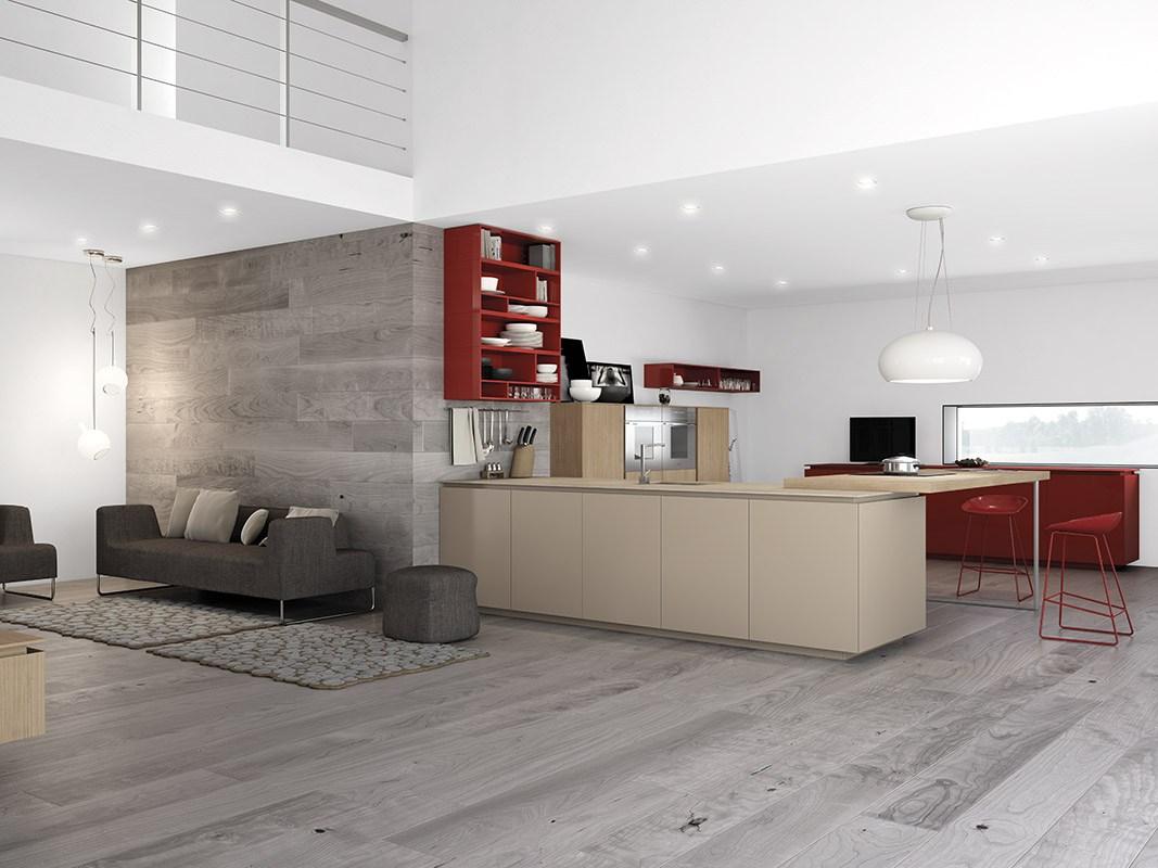 Дизайн кухни в стиле минимализма: серый диван и пуфик
