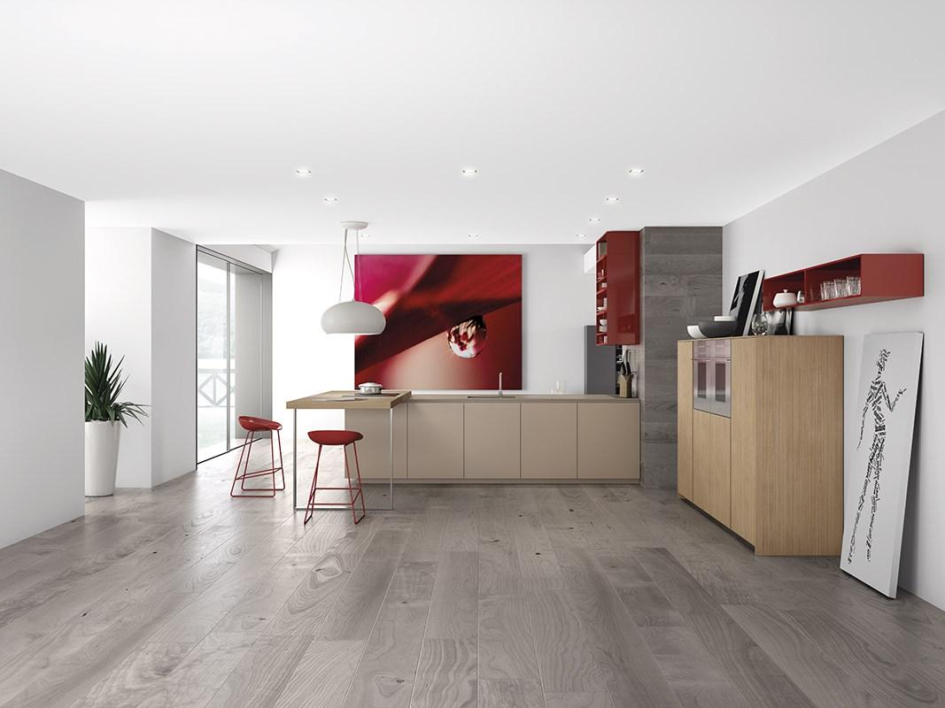 Дизайн кухни в стиле минимализма: красные акценты в интерьере