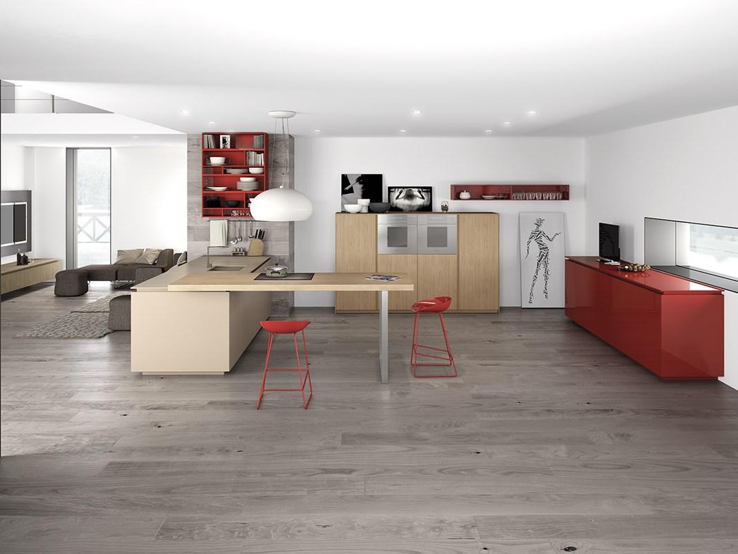 Дизайн кухни в стиле минимализма: красные барные стулья
