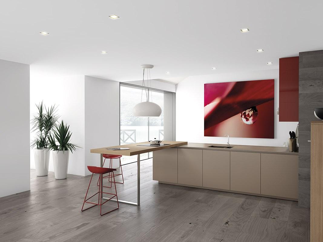 Дизайн кухни в стиле минимализма: комнатные растения в нише