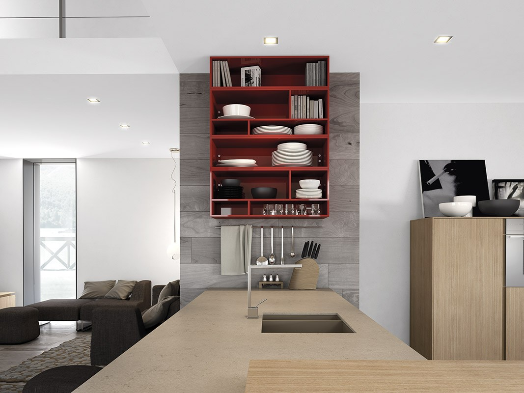 Дизайн кухни в стиле минимализма: бардовая полка с посудой