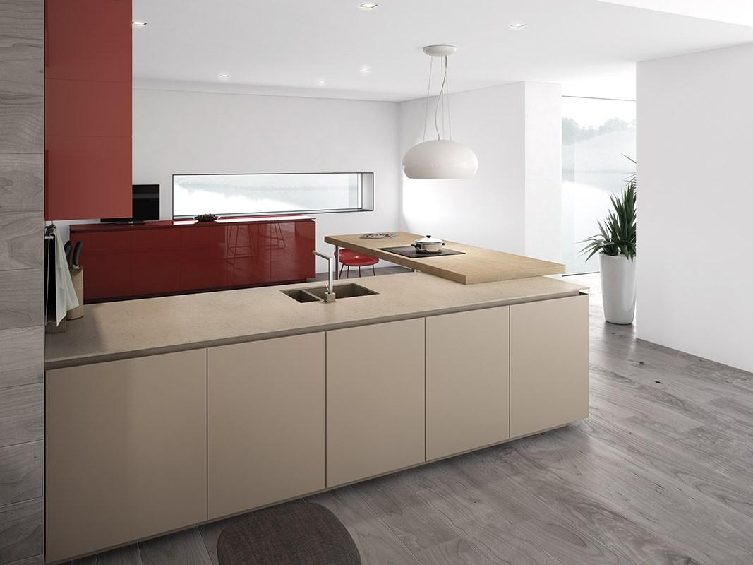Дизайн кухни в стиле минимализма: бежевая рабочая поверхность