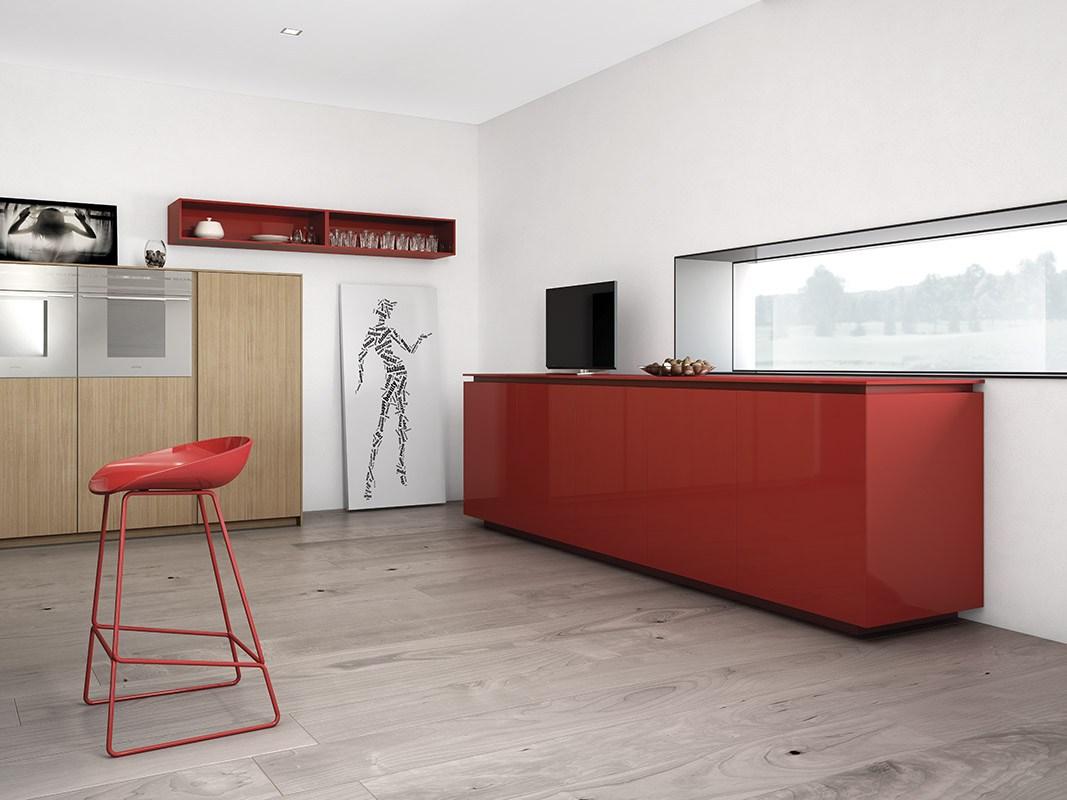 Дизайн кухни в стиле минимализма: длинное узкое окно