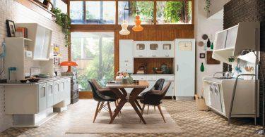 Яркий дизайн кухни в стиле ретро