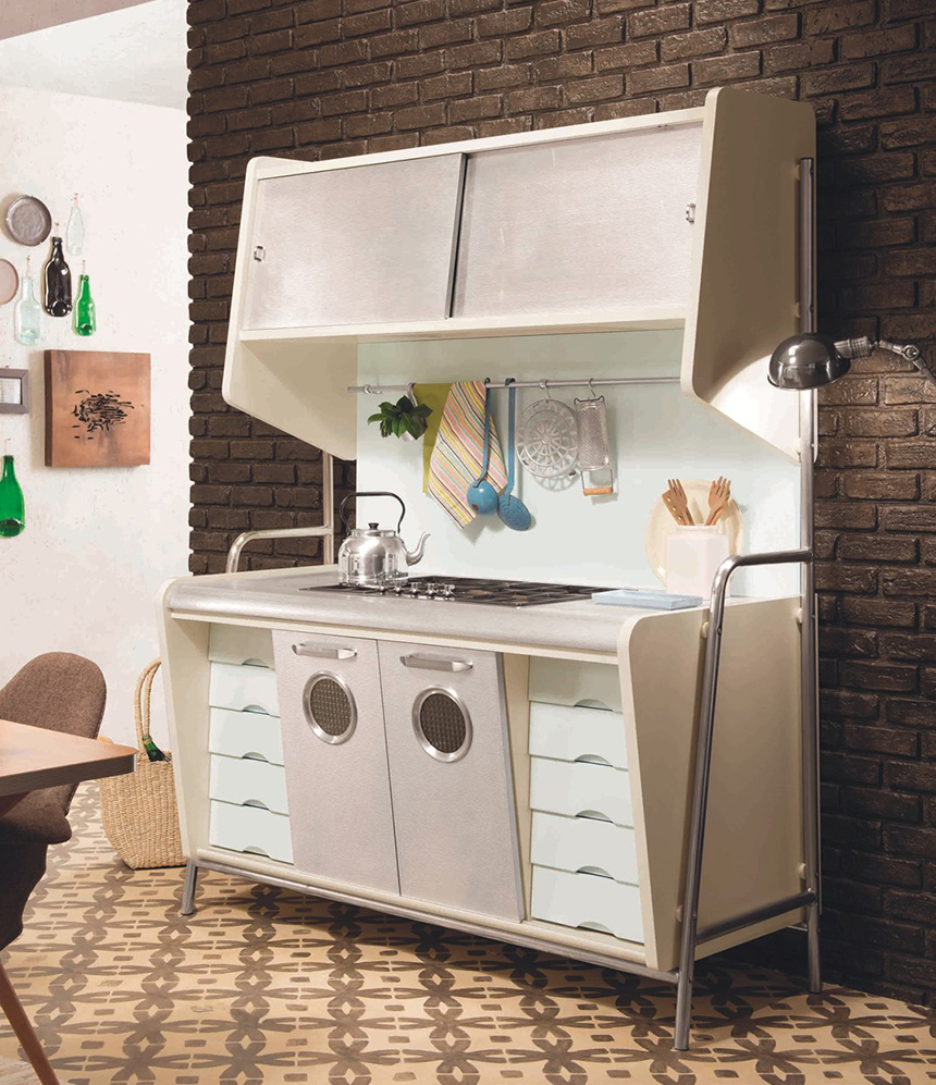 Дизайн кухни в стиле ретро: белый стеллаж с плитой