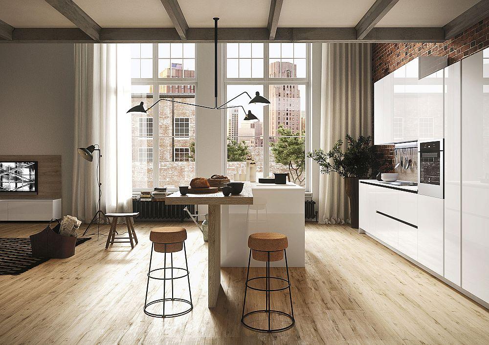 Оригинальные барные стулья в дизайне кухни в светлых тонах