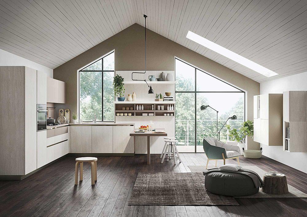 Белый деревянный потолок в дизайне кухни в светлых тонах