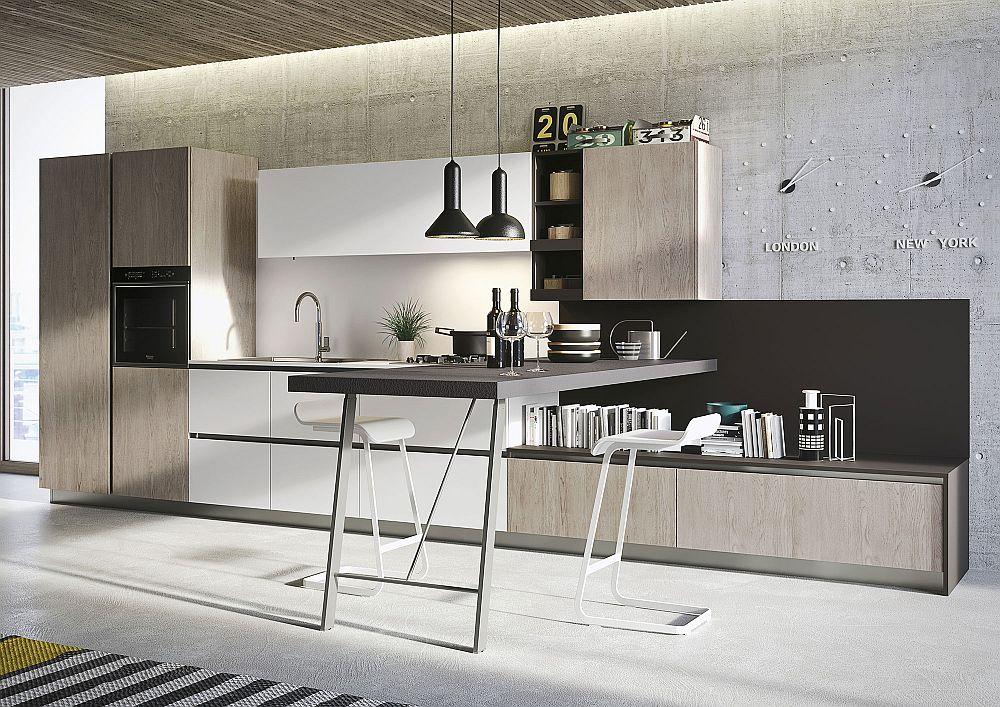 Стол с чёрной столешницей в дизайне кухни в светлых тонах