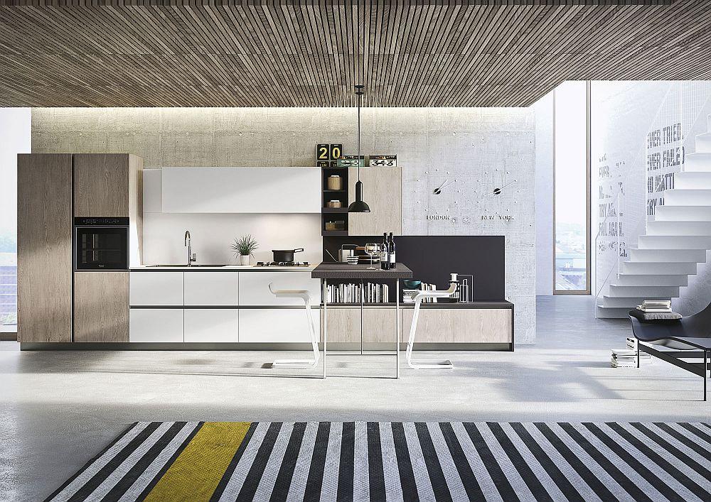 Белый гарнитур в дизайне кухни в светлых тонах