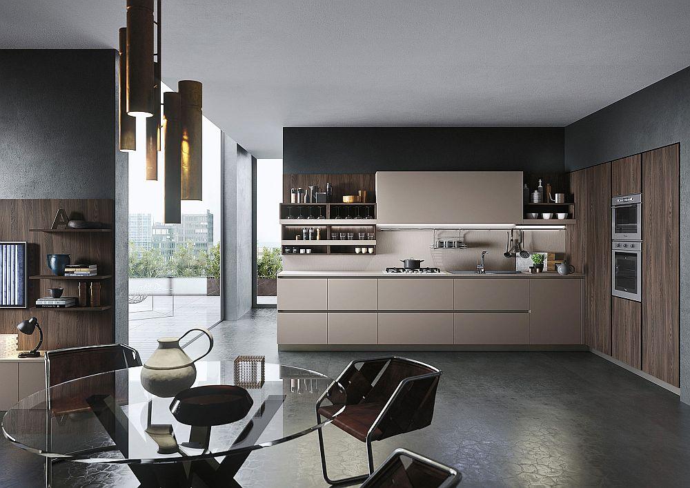 Стеклянный столик в дизайне кухни в светлых тонах