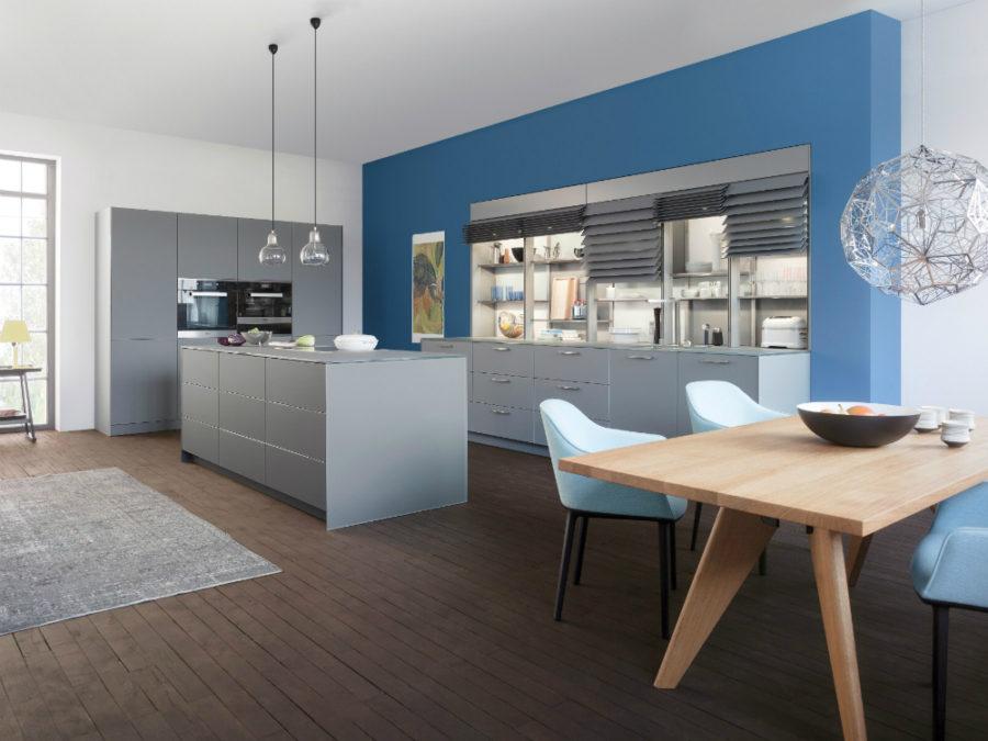 Дизайн кухонных шкафов - синий вариант