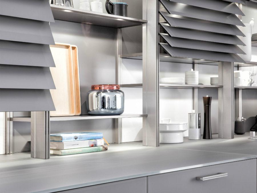 Дизайн кухонных шкафов - серебристая баночка