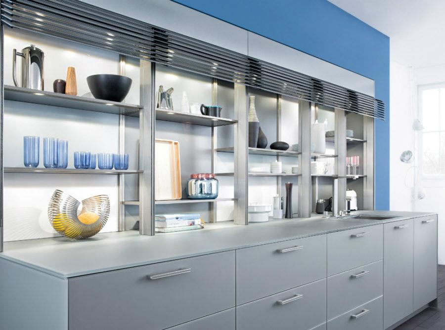 Дизайн кухонных шкафов - полки открыты