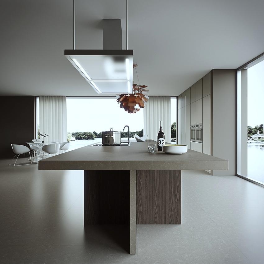 Серый кухонный остров с мраморной столешницей в дизайне мужской кухни