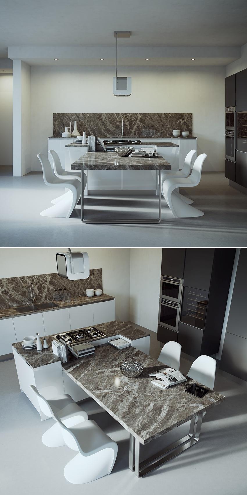 Белые пластиковые стулья в дизайне мужской кухни