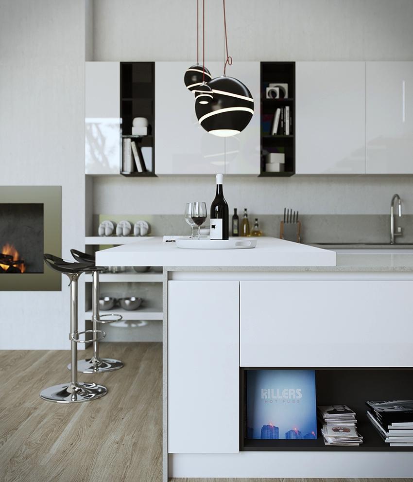 Креативные чёрные абажуры светильников в дизайне мужской кухни