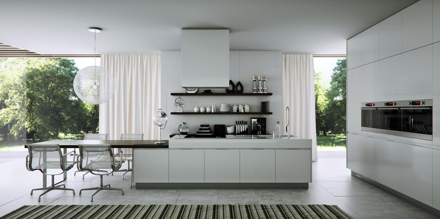 Серо-белый интерьер современной кухни