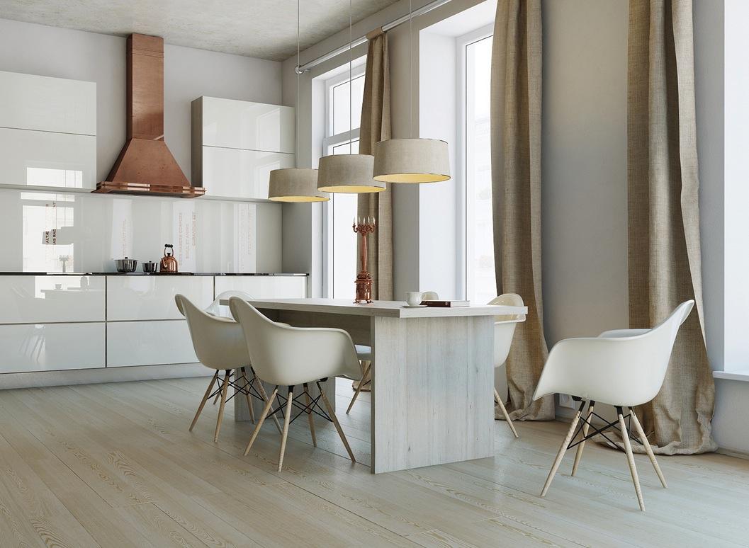 Вытяжка медного цвета в дизайне мужской кухни