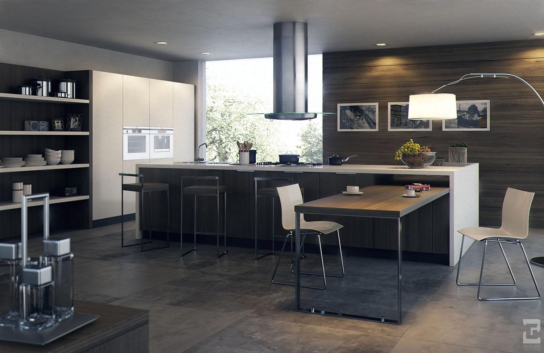 Дизайн современной кухни в тёмных оттенках
