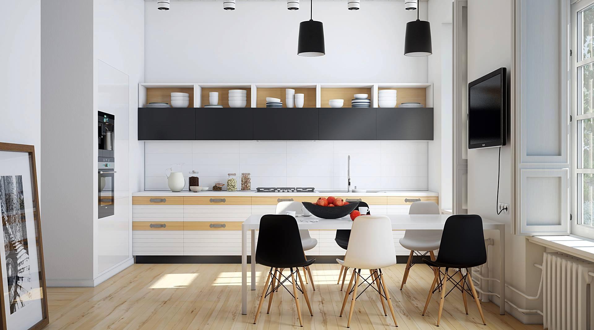 Чёрно-белый гарнитур с бежевыми полками в дизайне мужской кухни