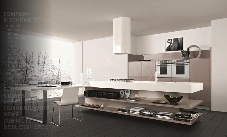 Дизайн светлого кухонного острова с глянцевыми полками бежевого цвета в интерьере