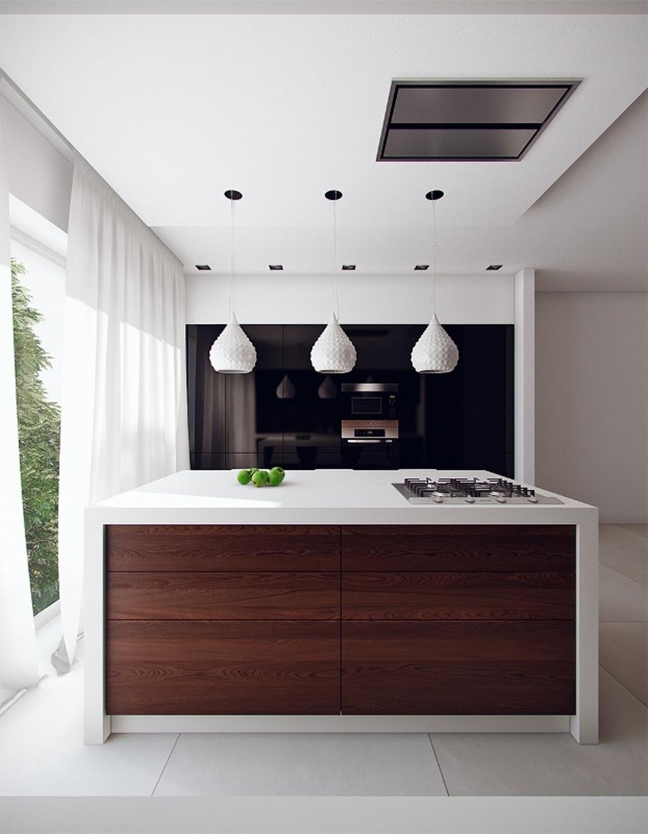 Оригинальные белые абажуры в дизайне мужской кухни