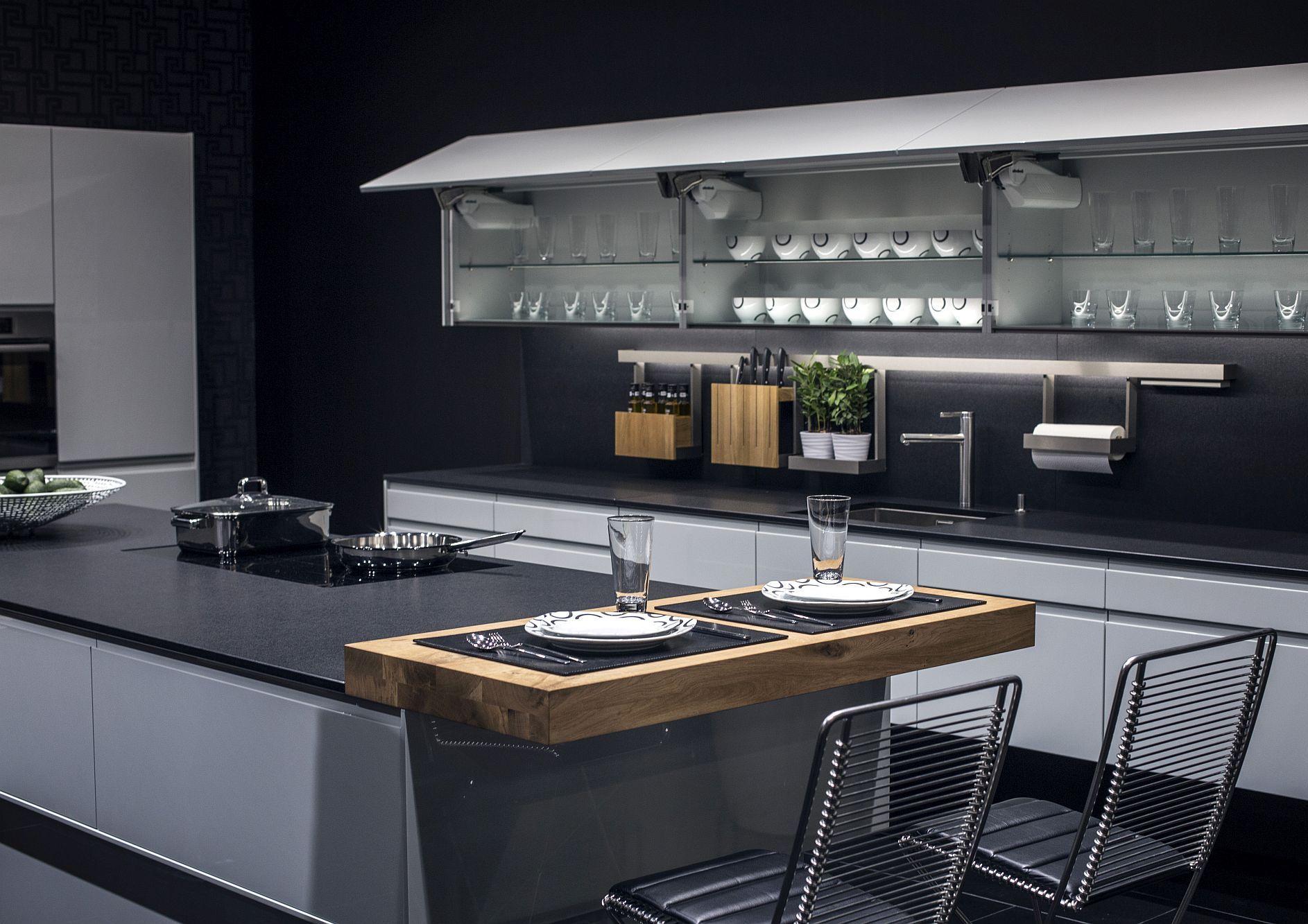 Cовременный дизайн серо-белой кухни, где серый доминирует - фото 3