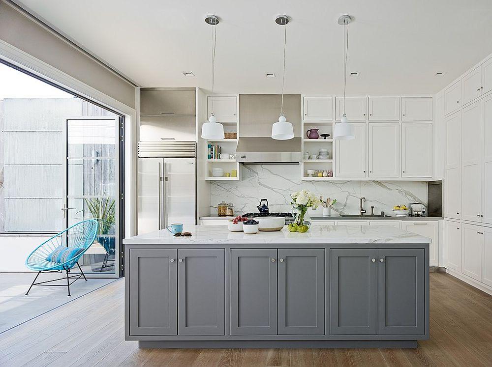 Cовременный дизайн серо-белой кухни, где доминирует белый цвет - фото 2