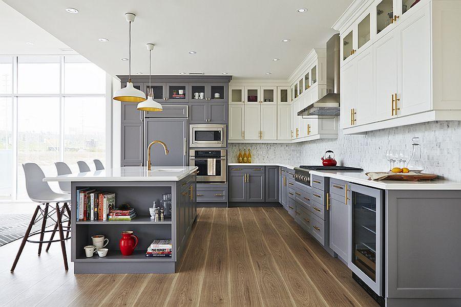 Cтильный дизайн серо-белой кухни - фото 1