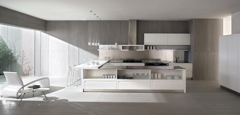 Дизайн белой кухни GeD CUCINE с открытыми полками