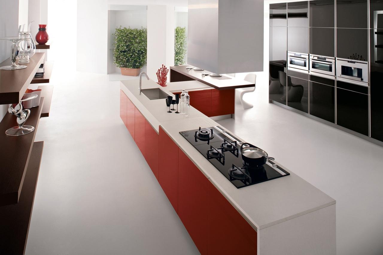 Дизайн кухни GeD CUCINE в чёрном, красном и белом цветах
