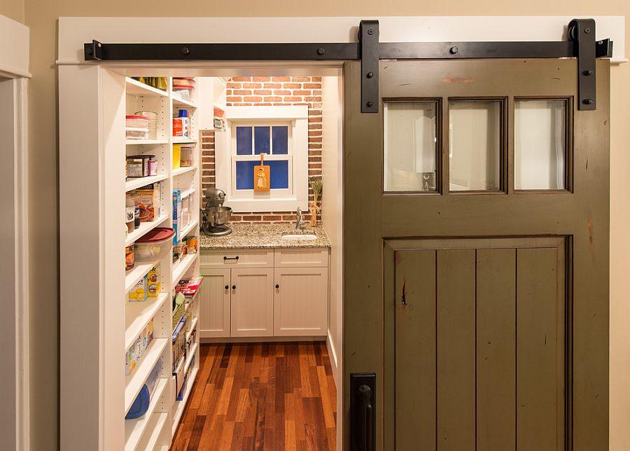 Деревянные раздвижные двери для кладовки на кухне - Фото 2