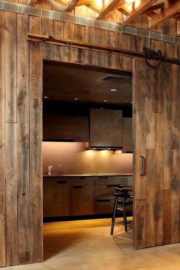 Деревянные раздвижные двери для кладовки на кухне - Фото 8