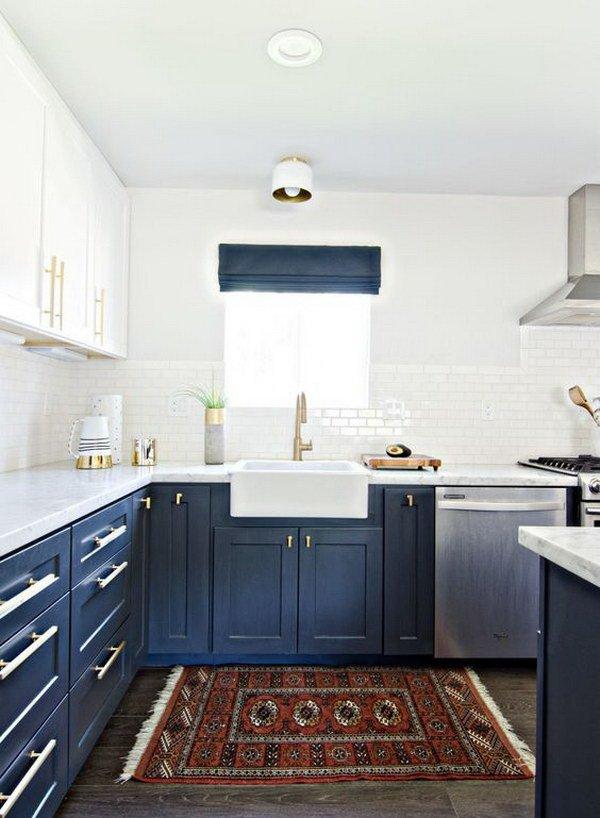 Двухцветные кухонные гарнитуры - Фото 14