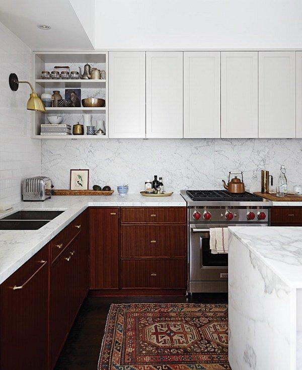 Двухцветные кухонные гарнитуры - Фото 15